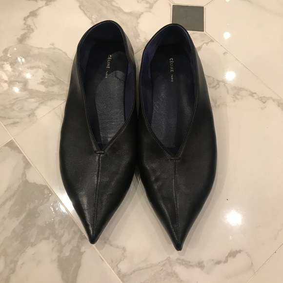 1455dd1468f Celine Shoes - Celine Leather Pointed Toe Flats